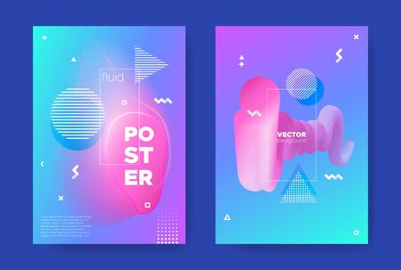Blue Music Flyers. Nightclub Party Background. Graphic Abstract Pattern. Bright Fluid Cover. Vector Music Banner. Nightclub Party Brochure. Gradient Pattern. Pink Flow Cover. Music Poster.