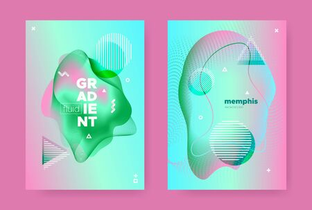 Graphic Abstract Geometric Elements. Contemporary Effect. Pink Fluid Gradient Shapes. Vector 3d Dynamic Shapes. Memphis Geometric Elements. Gradient Liquid Shape. Abstract Geometric Background.