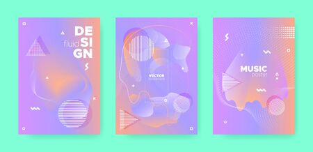 Hipster Abstract Geometric Elements. Contemporary Effect. Violet Wave Gradient Shape. Vector Pastel Wave Patterns. Abstract Geometric Background. Gradient Liquid Shape. Memphis Geometric Elements.