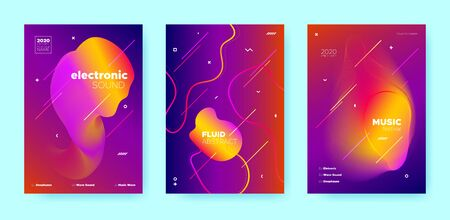 Orange Fluid Background. Gradient Music Design. Blue Vector Brochure. Pink Sound Banner. Electronic Party. Fluid Abstract. Gradient Music Poster. Multi color Vector Banner. Red Dance Dj Flyer. Ilustrace