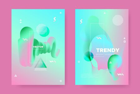Hipster Abstract Geometric Background. 70s or 80s Style. Pink Gradient Flow Shapes. Graphic Pastel Wave Posters. Abstract Geometric Elements. Fluid Gradient Shapes. Memphis Geometric Background.