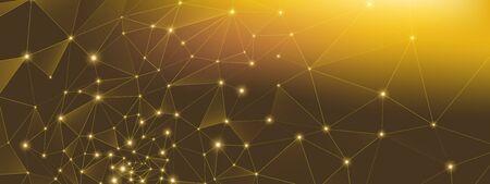 Gold Technology Wallpaper. 3d Big Data. Glow Depth Network. High Polygonal Background. Light Technology Abstract. Data Stream. Premium Dots Background. Glow Triangles Network. Technology Elements. Vectores