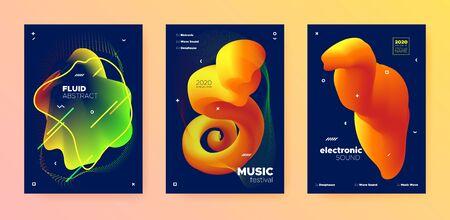 Electronic Music Template. Dj Party. Blue Futuristic Design. Autumn 3d Flow Pattern. Music Template. Trendy Dj Sound. Gradient Design. Vibrant 3d Fluid Lines. Electronic Music Invitation.