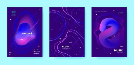 Electro Music Poster. Abstract Gradient Blend. Disco Club Flyer. Pink Flow Shape. Neon Trance Music Poster. Purple Wave Gradient Blend. Night Club Flyer. Dj Invitation. House Music Poster.