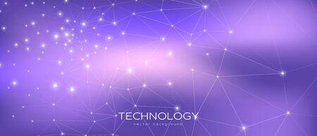 Streszczenie przepływu danych. Wizualizacja Fioletowej Nauki. Fioletowy 3d minimalne tło. Magia trójkątna tekstura. Koncepcja technologii danych. Kosmiczna Nauka Tapeta. Ilustracja gradientu. Dane technologiczne.