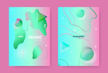 Trendy Memphis Geometric Background. Contemporary Style. Green Gradient Flow Shapes. Graphic 3d Dynamic Shapes. Abstract Geometric Elements. Fluid Gradient Shapes. Memphis Geometric Elements.