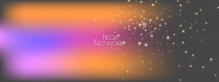 Technology Concept. Magic Big Data Visualization. Pink Polygonal Poster. Purple Futuristic Architecture. Technology Graphic. Big Data Architecture. Gray Futuristic Connection. Technology Network.