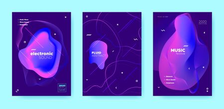 Techno Music Poster. Wave Gradient Shapes. Night Club Event. Blue Fluid Shape. Neon House Music Poster. Purple Abstract Gradient Shape. Night Club Festival. Dj Party. Trance Music Poster.