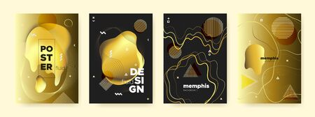 Bright Liquid Background. Fashion Memphis Pattern. Luxury Gold Wave Poster. Graphic Contemporary Brochure. Yellow Liquid Shapes. Golden Abstract Pattern. Glow Wave Design. Vector Liquid Gradient.