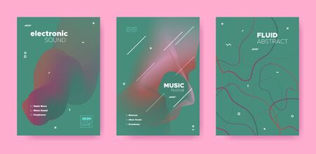 Abstract Fluid Concept. Music Flyer. Electro Dj Sound. Electronic Dance Festival. Green Abstract Fluid Design. Red Music Party. House Dj Sound. Electronic Dance Event. Red Abstract Fluid Poster. Иллюстрация