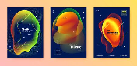 Electronic Music Template. Dj Sound. Bright Gradient Banner. Vibrant 3d Fluid Lines. Music Presentation. Modern Dj Poster. Gradient Design. Orange 3d Fluid Pattern. Electronic Music Movement. Banque d'images - 134342420