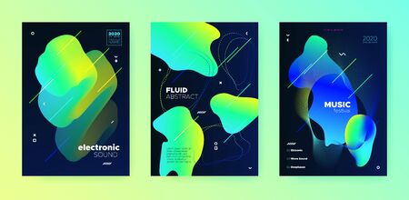 Electronic Music Festival. Dj Party. Blue Gradient Banner. Vibrant Abstract Pattern. Music Invitation. Trendy Dj Sound. Minimal Design. Yellow 3d Fluid Pattern. Electronic Music Template.