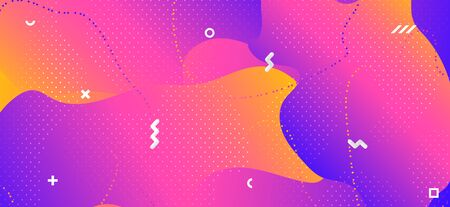 Colorful Wave Shapes. Creative Geometric Ornament. Gradient Futuristic Presentation. Modern Graphic Banner. Fluid Shapes. Minimal Memphis Ornament. Business Contemporary Decoration. Liquid Shapes. Banque d'images - 134435844