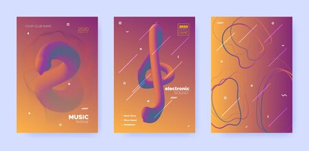 Gradient Flow Shapes. Disco Club Party Flyer. Blue Music Brochure. Dj Poster. Red 3d Movement Design. Abstract Flow Shapes. Night Club Party Flyer. Music Invitation. Techno Festival Cover.