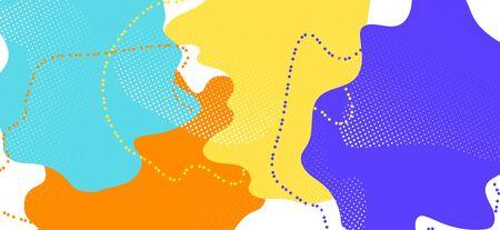 Multicolor Memphis Design. Vector Geometric Illustration. Futuristic Liquid Backdrop. Blue Cool Ornament. Memphis Shape. Fashion Abstract Decoration. Yellow Liquid Template. Memphis Shapes. Banque d'images - 134435849