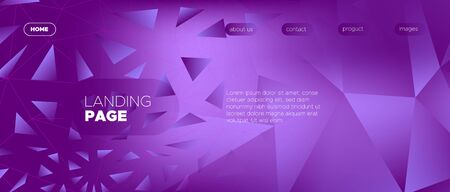 Vibrant Landing Page. Vector Polygonal Banner. Gradient Creative Geometry. Dynamic Minimal Design. Landing Page. 3d Modern Polygon Background. Purple Minimal Concept. Commercial Landing Page. Иллюстрация