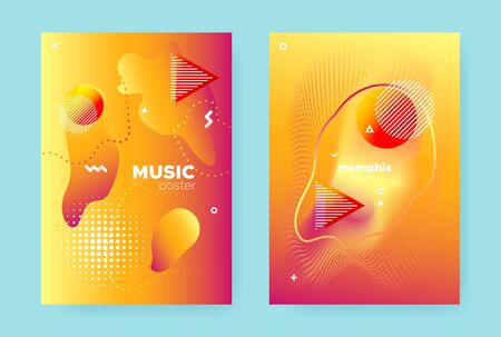 Orange Fluid Brochure. Red Modern Hipster Pattern. Bright Music Design. Vector Memphis Elements. Sun Flow Background. Graphic Abstract Pattern. Summer Liquid Shape. Yellow Fluid Gradient. Banque d'images - 134435856