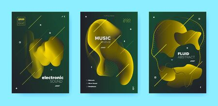 Abstract Flow Shapes. Night Club Party Flyer. Vip Music Invitation. Dj Sound. Green 3d Movement Design. Gradient Flow Shapes. Disco Club Party Flyer. Music Background. Luxury Gradient Flow Shapes. Иллюстрация