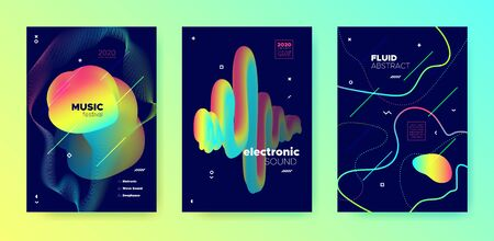 Neon Music Flyer. Gradient Pattern. Electronic Dance Concert. Multicolor Abstract Presentation. Rainbow Music Poster. Futuristic Pattern. Electronic Club Festival. Vivid Colorful Music Party.