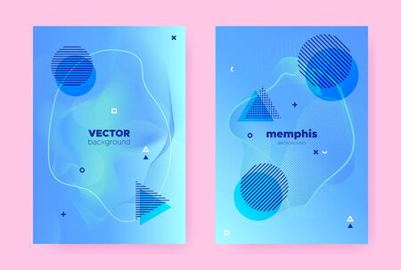 Pastel Abstract Memphis Gradient. Modern Fluid Shapes. Wave Pattern. Graphic Geometric Magazine. Hipster Memphis Gradient. Trendy Fluid Poster. Vector Music Pattern. Hipster Memphis Background.
