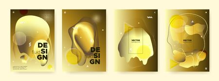 Bright Liquid Shapes. Vector Abstract Pattern. Luxury Glow Fluid Poster. Graphic Contemporary Brochure. Yellow Liquid Gradient. Gold Memphis Banner. Golden Fluid Design. Fashion Liquid Background.