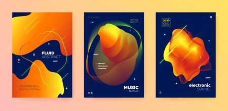 Electronic Music Template. Dj Party. Blue Futuristic Banner. Orange Abstract Pattern. Music Template. Trendy Dj Flyer. Gradient Design. Autumn 3d Fluid Pattern. Electronic Music Movement. Banque d'images - 134542880