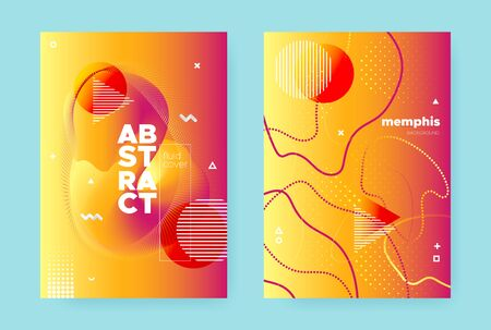 Bright Flow Background. Orange Vibrant Abstract Banner. Yellow Wave Design. Modern Memphis Illustration. Summer Fluid Background. Trendy Hipster Pattern. Autumn Music Design. Red Fluid Brochure. Иллюстрация