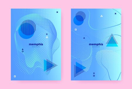 Blue Hipster Memphis Gradient. Vector Flow Poster. Music Banner. Vibrant Geometric Template. Hipster Memphis Background. Summer Fluid Shapes. Graphic Liquid Banner. Abstract Memphis Brochure. Banque d'images - 134454157