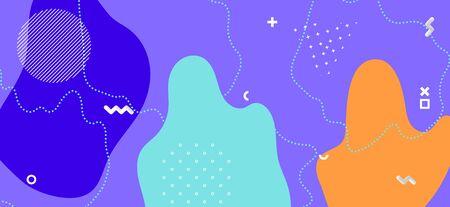 Blue Memphis Design. Creative Geometric Presentation. Futuristic Liquid Template. Multicolor Funky Ornament. Memphis Page. Fashion Geometric Composition. Colorful Graphic Memphis Banner. Banque d'images - 134454215