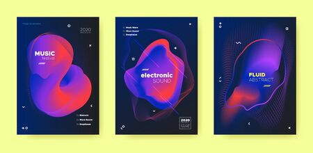 Abstract Fluid Poster. Music Flyer. Club Dj Sound. Electronic Dance Event. Red Abstract Fluid Concept. Purple Music Party. House Dj Sound. Electronic Dance Festival. Blue Abstract Fluid Design.  Иллюстрация