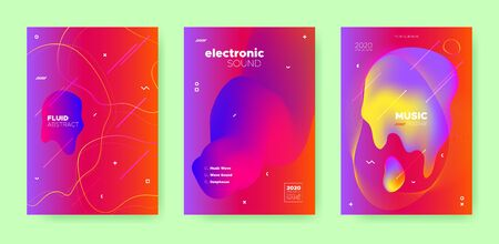 Red Fluid Background. Gradient Music Design. Graphic Banner. Colorful Sound Movement. Blue Fluid Abstract. Gradient Music Wave. Vector Dj Flyer. Dance Movement. Electronic Party. Sound Festival. Иллюстрация