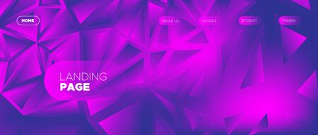 Violet Landing Page. Vector Polygonal Banner. Magenta Geometry Texture. Commercial Minimal Poster. Landing Page. 3d Abstract Polygon Wallpaper. Pink Creative Geometry. Abstract Landing Page. Иллюстрация