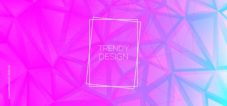Minimal Triangular Background. Digital Polygon Layout. Technology Vector Presentation. Blue Graphic Geometry. Triangles Wallpaper. Pink Polygon Pattern. Geometric Shapes. Creative Polygon Poster.