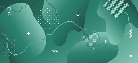 Wave Fluid Shapes. Green Geometric Background. Gradient Trendy Texture. Fashion Futuristic Decoration. Wave Liquid Banner. Minimal Geometric Brochure. Dark Graphic Texture. Wave Liquid Poster. Banque d'images - 134500307
