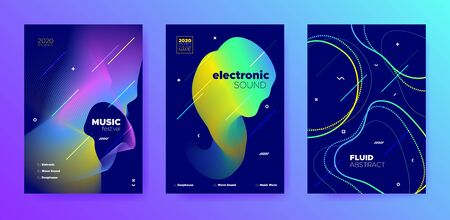 Purple Music Poster. Minimal Lines. Techno Festival. Colorful Abstract Movement. Blue Music Party. Gradient Pattern. Trance Concert. Neon 3d Fluid Movement. Trendy Music Flyer.