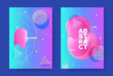 Bright Music Banner. Electronic Sound Background. Hipster Memphis Design. Purple Flow Shape. Graphic Music Flyers. Electronic Sound Brochure. Abstract Pattern. Blue Liquid Shape. Music Poster.