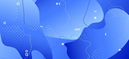 Blue Fluid Poster. Business Wave Presentation. Abstract Memphis Template. Gradient Graphic Texture. Minimal Fluid Design. Creative Wave Background. Abstract Geometric Ornament. Fluid Banner. Иллюстрация