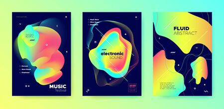 Neon Music Party. Minimal Sound. Electronic House Festival. Colorful 3d Flow Presentation. Modern Music Banner. Gradient Layout. Electronic Trance Festival. Vivid Multicolor Music Flyer. Иллюстрация