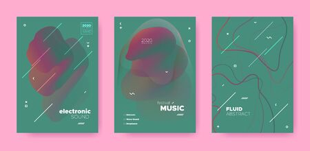 Abstract Fluid Design. Music Party. Trance Dj Sound. Electronic Dance Event. Red Abstract Fluid Concept. Green Music Flyer. House Dj Sound. Electronic Dance Festival. Red Abstract Fluid Poster. Иллюстрация