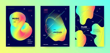 Vivid Music Flyer. Minimal Layout. Electronic Club Festival. Multicolor 3d Fluid Template. Trendy Music Design. Minimal Lines. Electronic House Festival. Neon Colorful Music Poster.