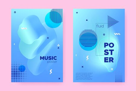 Pastel Hipster Memphis Background. Summer Flow Shape. Liquid Cover. Graphic Business Magazine. Abstract Memphis Brochure. Trendy Flow Shapes. Modern Music Banner. Abstract Memphis Gradient.