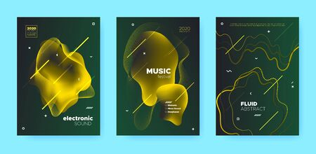 Gradient Flow Shapes. Night Club Party Flyer. Luxury Music Brochure. Dj Poster. Gold 3d Movement Banner. Abstract Flow Shapes. Disco Club Party Flyer. Music Invitation. Green Abstract Flow Shapes. Standard-Bild - 137468721