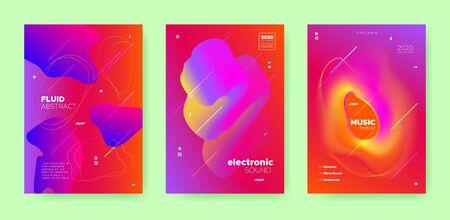 Red Fluid Abstract. Gradient Music Poster. Vector Brochure. Purple Sound Movement. Blue Fluid Background. Gradient Music Wave. Graphic Brochure. Dance Movement. Electronic Party. Dance Festival. Standard-Bild - 137468736