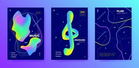 Modern Music Banner. Minimal Layout. Techno Concert. Multicolor 3d Flow Presentation. Green Music Party. Futuristic Lines. Dance Concert. Neon Abstract Template. Trendy Music Design. Standard-Bild - 137468770