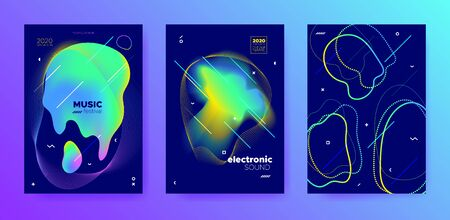 Modern Music Flyer. Futuristic Sound. Techno Festival. Trendy 3d Fluid Movement. Green Music Poster. Minimal Layout. Electro Festival. Vivid 3d Fluid Presentation. Multicolor Music Banner. Standard-Bild - 137468773
