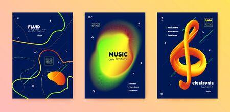 Electronic Music Invitation. Dj Party. Blue Gradient Design. Vibrant Abstract Lines. Music Template. Trendy Dj Sound. Futuristic Design. Orange 3d Flow Pattern. Electronic Music Template. Standard-Bild - 137468781