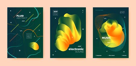House Music Poster. Wave Gradient Blend. Night 3d Banner. Dj Party. Gold Techno Music Poster. Green Abstract Gradient Shape. Night Club Event. Dj Concert. Dance Music Poster. Standard-Bild - 137468783