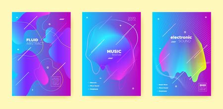 Blue Dance Music Poster. Abstract Gradient Blend. Night Club Event. Dj Party. Pink Electro Music Poster. Neon Wave Gradient Blend. Night Club Flyer. Dj Concert. Techno Music Poster. Standard-Bild - 137399833