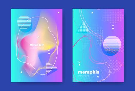 Blue Music Banner. Electronic Sound Background. Vector Gradient Design. Bright Fluid Shape. Hipster Music Poster. Nightclub Party Background. Abstract Design. Neon Fluid Cover. Music Flyers. Standard-Bild - 137399553