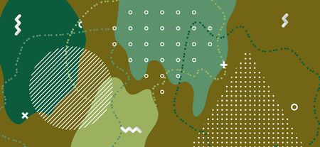 Hipster Camouflage Composition. Graphic Forest Wave Cover. Summer Green Military Collage. Minimal Camouflage Background. Camo Wave Poster. Army Military Pattern. Fashion Camouflage Illustration. Standard-Bild - 137468788